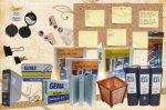 Carpetas, Folders, Cajas de Clips, Almohadilla Dactilar, Panel de Mensajes, Papelera, Panel - Tablón de Corcho